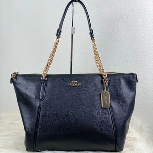 COACH AVA PEBBLED LEATHER CHAIN TOTE